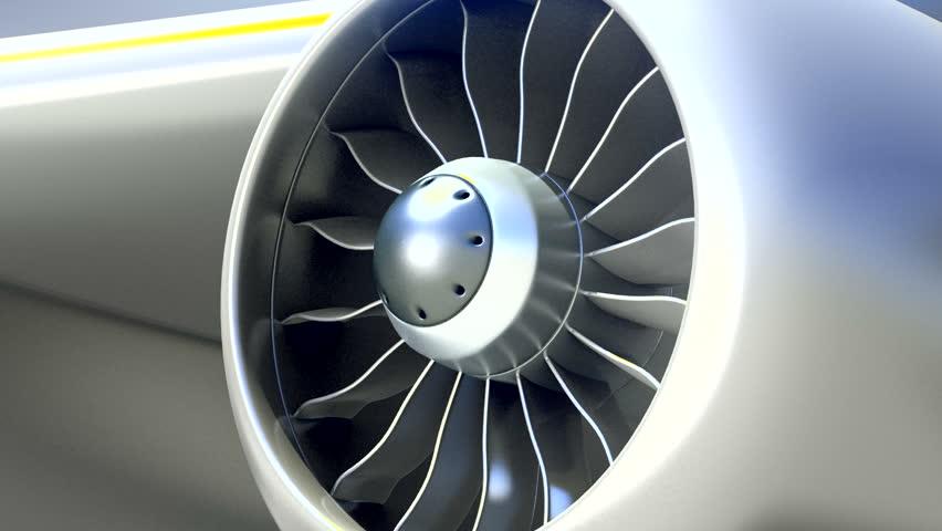 Closeup of Airplane Engine, Loop Video