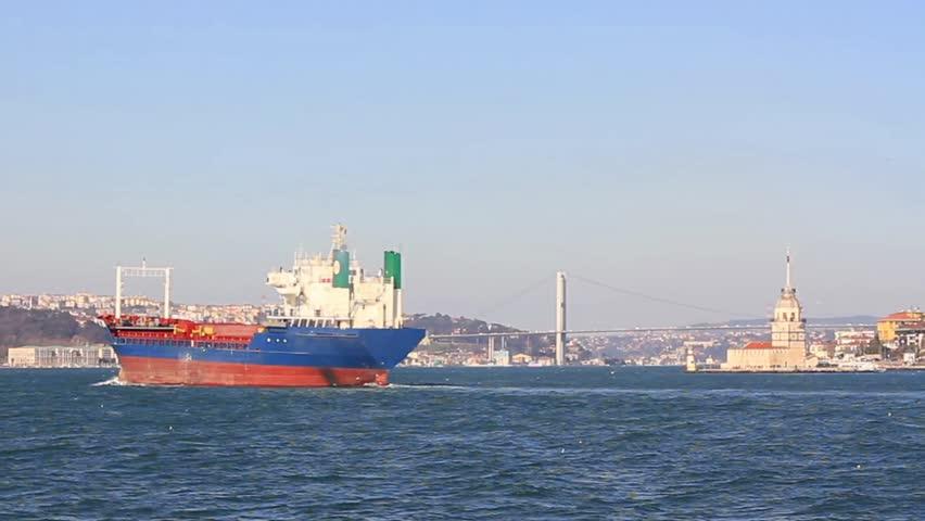 Dry cargo ship.  Rear view of a cargo ship sailing into Bosporus