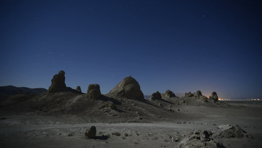 Trona Pinnacles LM01 Timelapse Night to Day North Star Moonlight Shadows