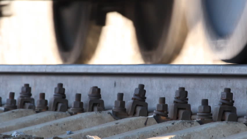The wheels on the railway track. The railway, the movement of freight trains