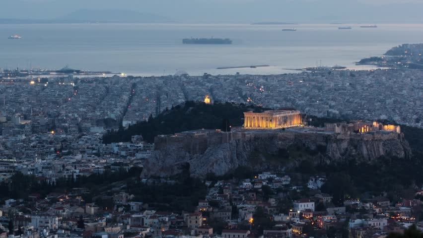 acropolis of athens sunset timelapse