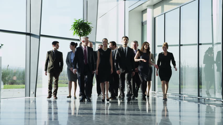 Portrait of an attractive multi-racial business team, as they walk through  a light and modern glass fronted office building towards the camera. In slow motion. #3893537