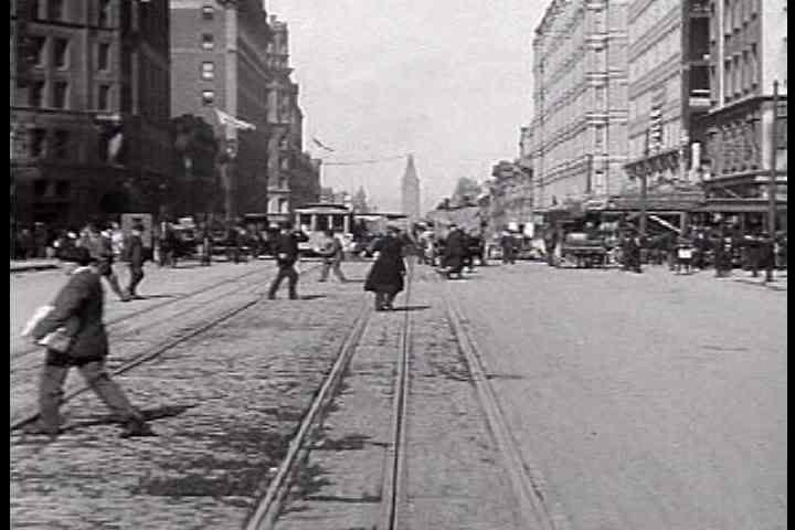 1900s - A trip down Market Street in San Francisco just prior to the great earthquake of 1906.