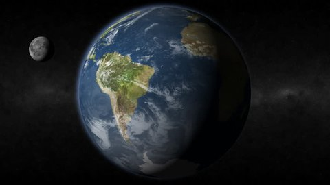 This HD realistic earth revolves slowly showing South America and the moon.