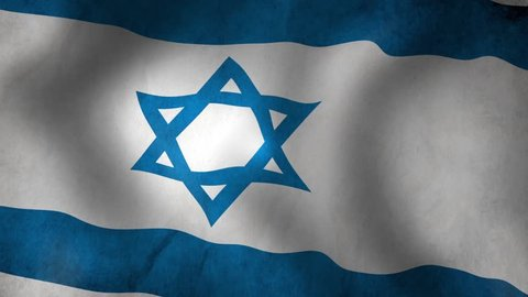 Israel Flag - looping, waving, A beautiful finish looping flag animation of Israel. A fully digital rendering using the official flag design in a waving, full frame composition. Loop at 15 seconds.