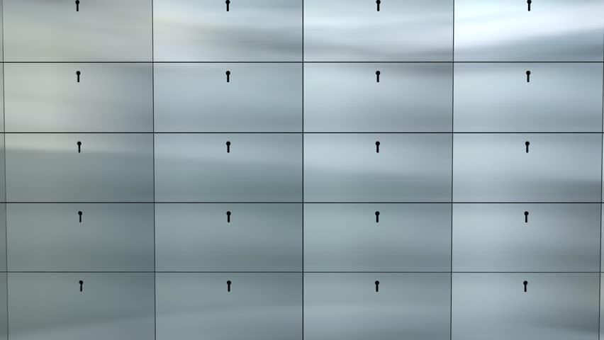 Artist rendering bank safe deposit box.
