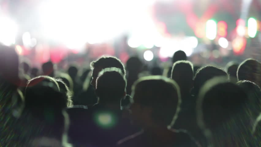 Shot of some cheering fans at a life concert, some visible noise due high ISO, soft focus. jumping silhouettes.