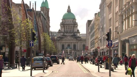 BELFAST, NORTHERN IRELAND - AUGUST 2011:The commercial centre of Belfast with its City Hall dome in the background.