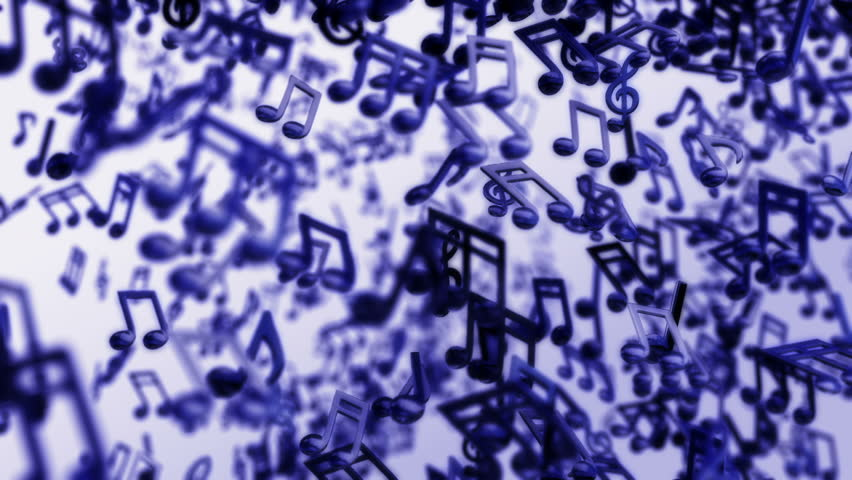 Animated blue motion loop background with music notes flowing freely in the space
