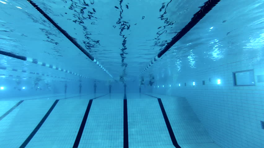 Swimming Pool Lanes Background swimming pool and swimmer during the training stock footage video