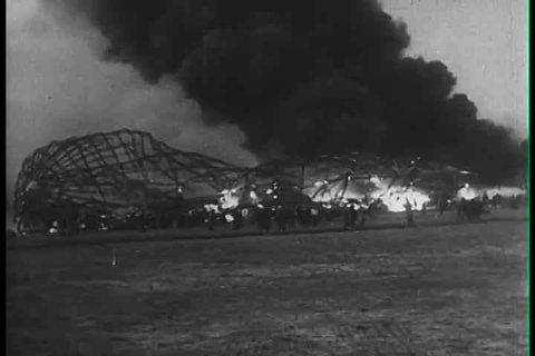 1930s - The Hindenburg zeppelin explodes at Lakehurst, N.J. in 1939