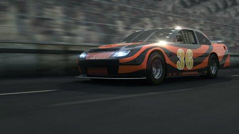 Race car along the racetrack.