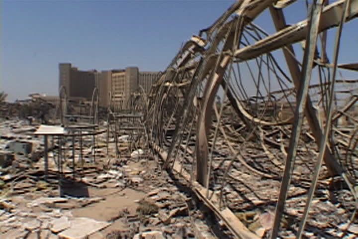 Metal structure remains, rubble and debris strewn everywhere in Baghdad, Iraq.