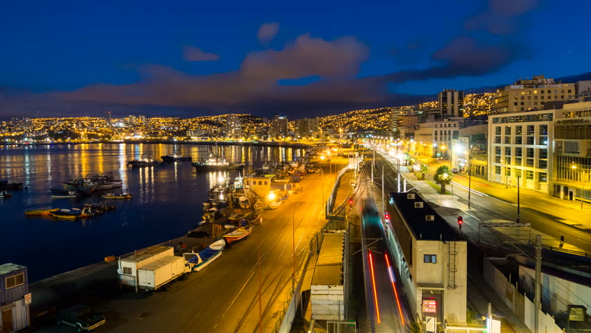 VALPARAISO - 17 FEB: Timelapse view over the docks at Valparaiso showing waterfront streets and transportation on 17 February 2013 in Valparaiso, Chile