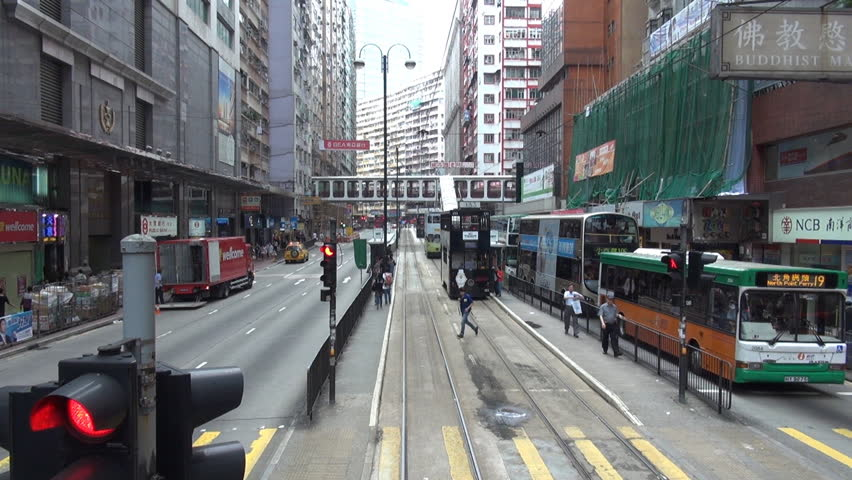 HONG KONG, MAY 15, 2012, Fast motion of tram tour in the city