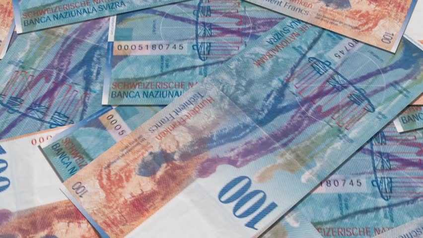 Swiss currency of 100 francs, fly over banknotes of 100, Swiss  Money and bank notes in Switzerland   Shutterstock HD Video #4093939