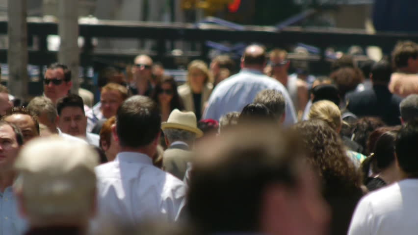 NEW YORK - CIRCA JUNE 2013: Commuter crowd of business people walking  | Shutterstock HD Video #4095649