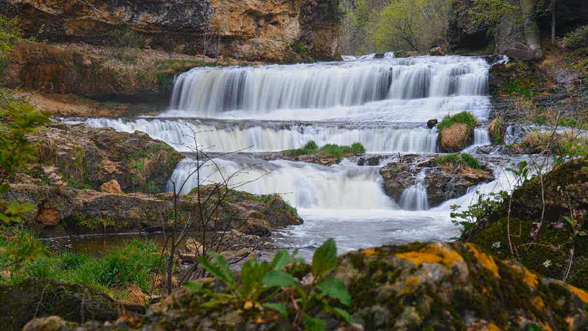 Timelapse waterfall on the Willow River in Wisconsin.