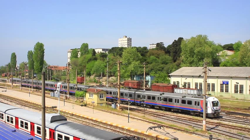 Electric train leaving from Haydarpasa. Passenger train at the Haydarpasa