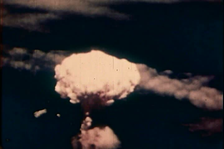 1950s - The history of nuclear bomb testing is shown.
