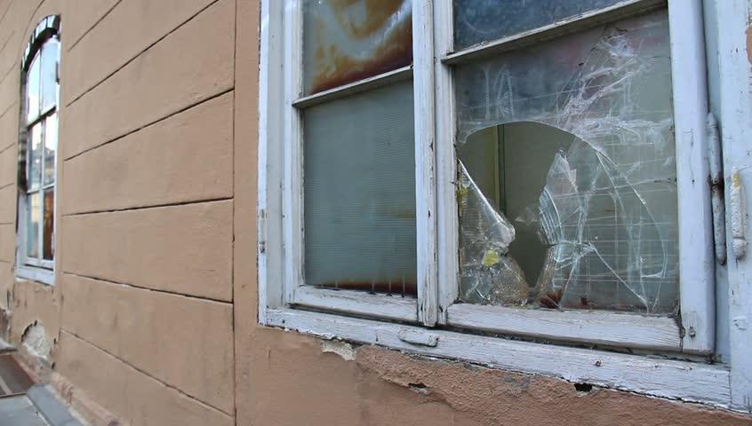 Broken window on the building.