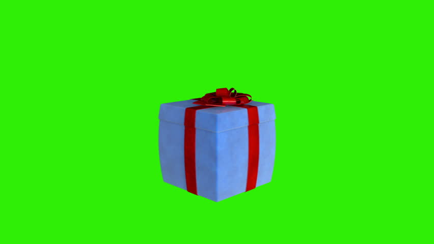 Gift box opening lid to present a laptop, Green Screen