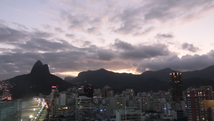 Rio De Janeiro Vista at dusk with Two Brothers Mountain and beach   Shutterstock HD Video #4189489