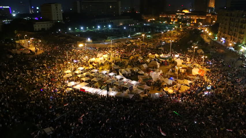 CAIRO, EGYPT - 2013: Overhead view of demonstrators in Tahrir Square in Cairo, Egypt.