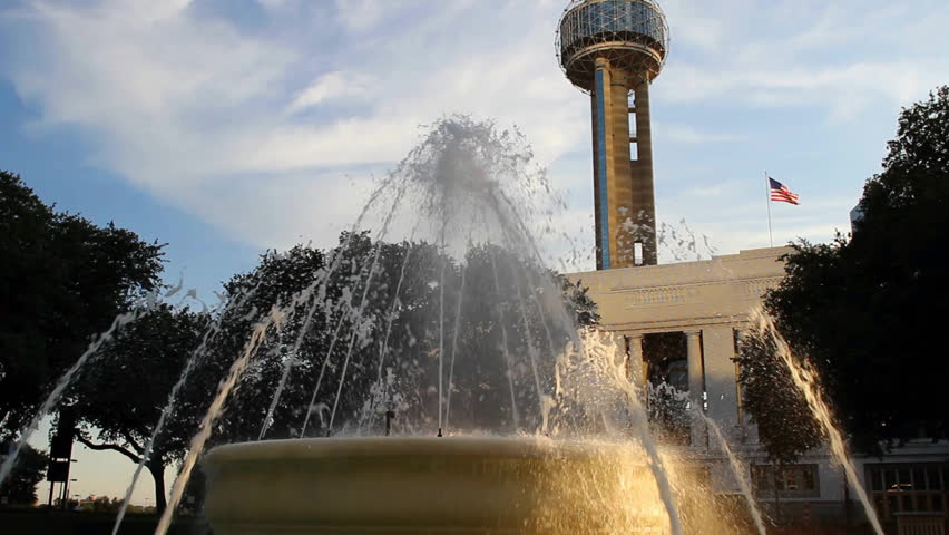 Fountain in Downtown Dallas, Union Station and Reunion Tower in background