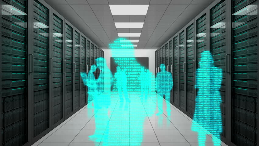 Animation of a trip through data center with silhouettes of business people | Shutterstock HD Video #4227829