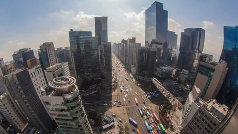 Seoul City Gangnam Crowded Downtown Architecture 172) Time lapse of traffic and Architecture in Gangnam. Seoul, Korea.