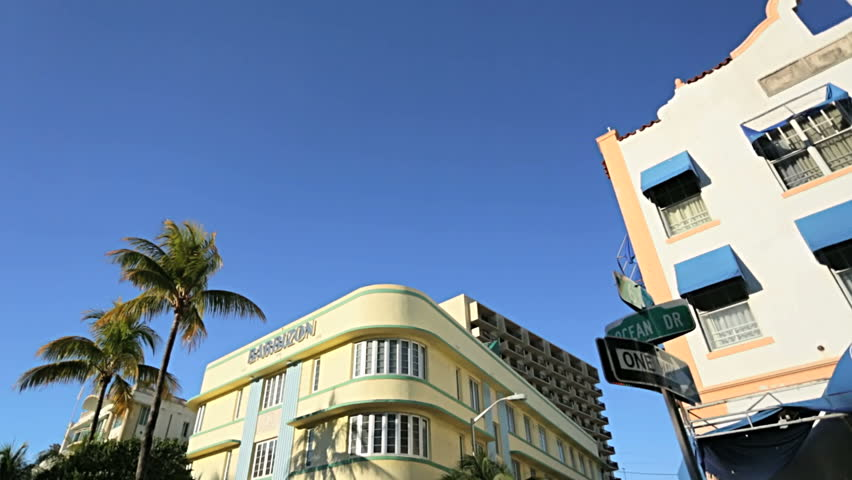 Ocean Drive colorful Art Deco hotels and condominiums South Beach, Florida, USA #4231459