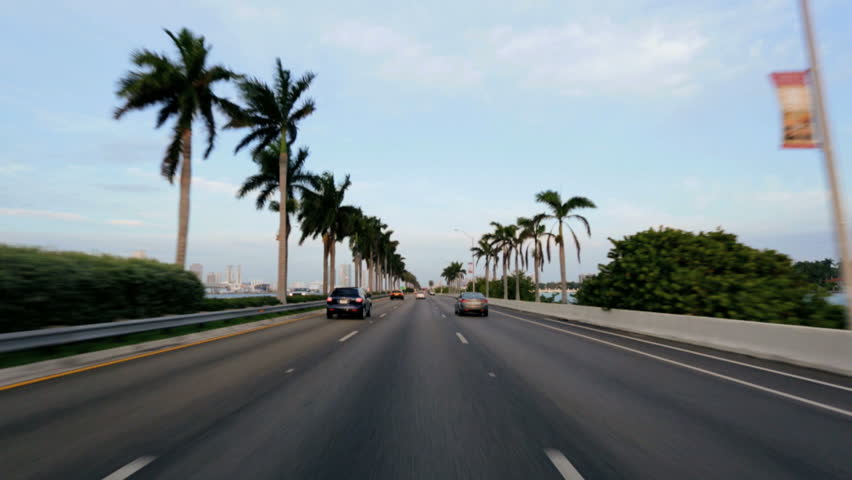 P.O.V. driving on Ocean Causeway highway Miami city, Florida, USA