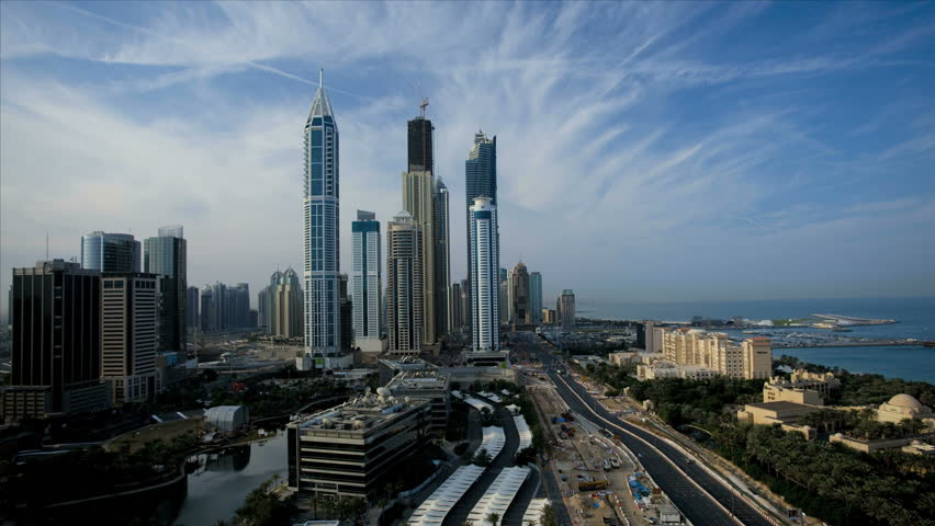 Elevated time lapse view of Media and Internet city skyscrapers on Sheikh Zayed Road downtown, Dubai, UAE