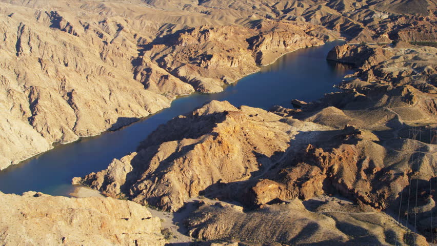 Aerial view Red Rock Canyon Colorado River inflow from Grand Canyon to Lake Mead, nr Las Vegas, Arizona Nevada, USA | Shutterstock HD Video #4241909