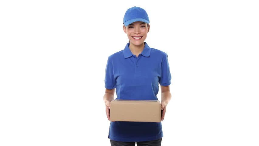 Delivery Person Courier Delivering Packages Holding Clipboard And ...