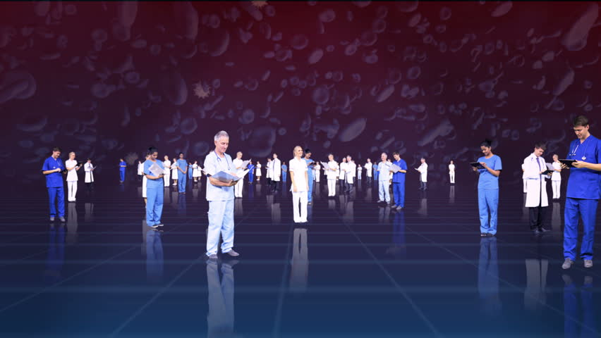 3D fly through montage of medical healthcare professionals using modern wireless technology background red blood cells | Shutterstock HD Video #4270826