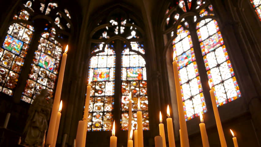 Stained glass with candles