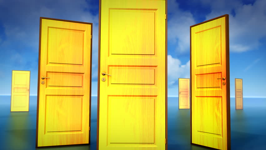 Multiple doors to choose, one leads to opportunity. Chroma key added. | Shutterstock HD Video #4282673