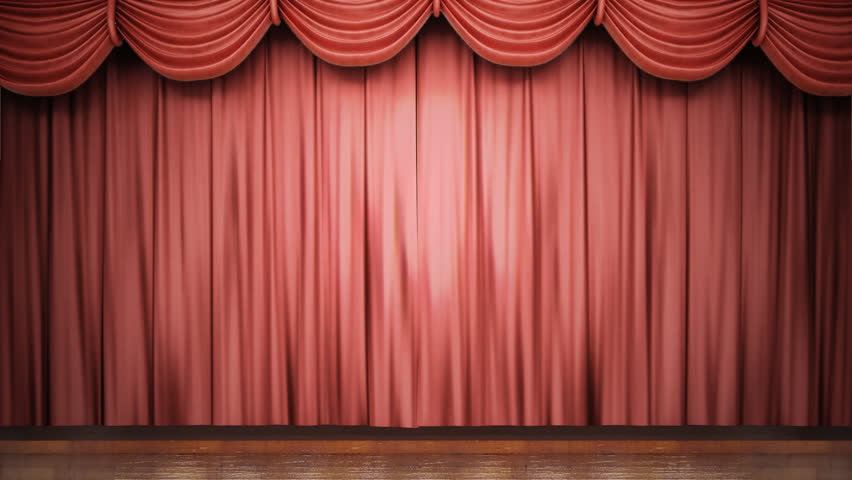 High definition clip of an opening red stage curtain. Animated mask for easy