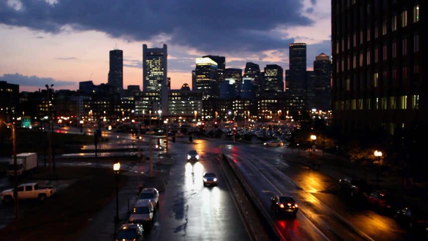 Rooms: Boston Skyline Stock Video Footage