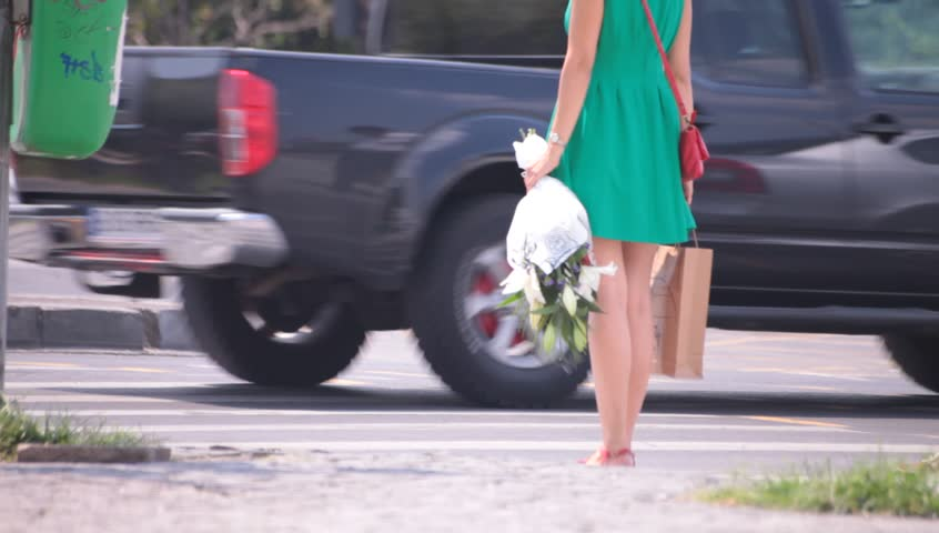 Fat Naked Legs Young Adult Woman Waiting Crossing Street Low Angle Point Of View -7750