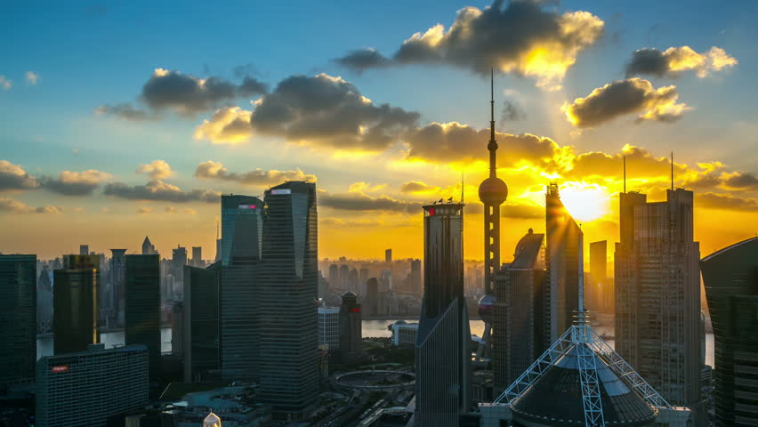 Time lapse of the modern buildings in Shanghai China viewed from skyscraper of Pudong .- (seamless connection clip ID: 4348670)    >>> Please search similar: