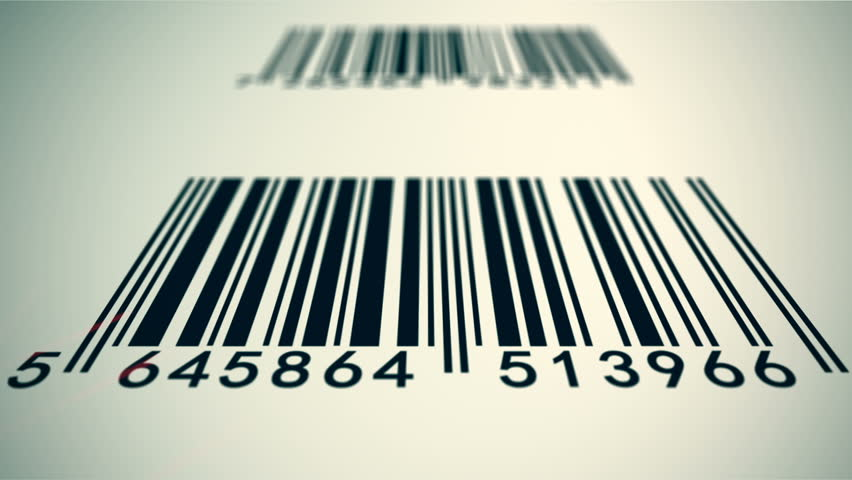 Loopable animation illustrates an array of EAN barcodes being scanned by barcode scanner on a white background.
