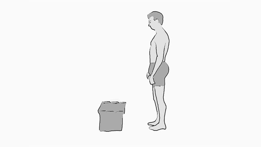 Back Pain animation,illustration of improper lifting that hurts a mans back from lifting a box, spinal, lumbar injury.