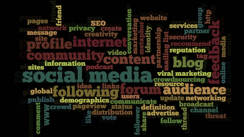 Conceptual video of tag cloud containing words related to social media, marketing, blogs, social networks and Internet, stressing selected words, on black background