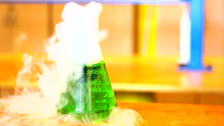 smoking chemistry flask