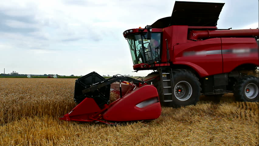 Wheat harvest with modern combine harvester,video clip ; Harvester wheat
