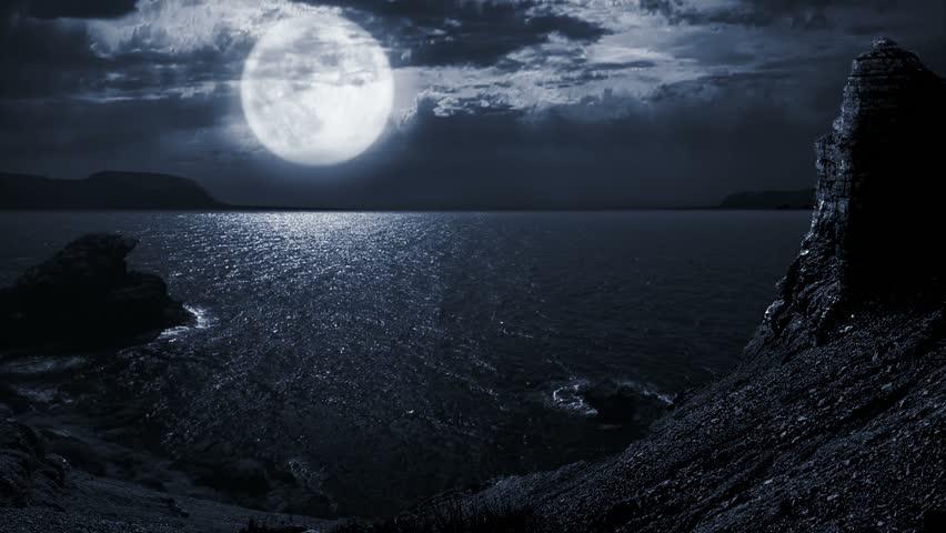 full moon night seascapelandscape stock footage video