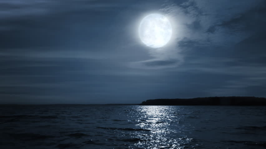 Tropical Waves Sky Mountains Clouds Island Moon Night: Night Full Moon Landscape. Stock Footage Video 4402835